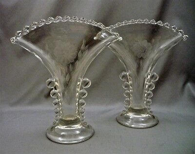 """2 CANDLEWICK Carnival Glass IMPERIAL Fan Vases 8 1/4"""" Etched Flowers Leaves"""