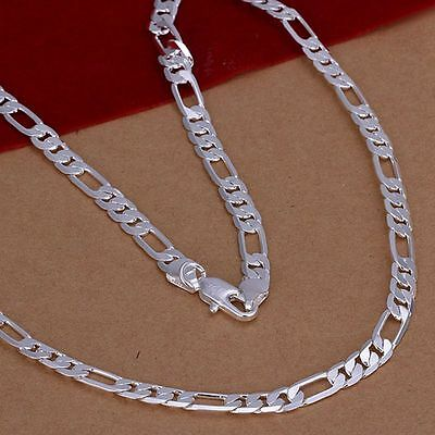 New 925Sterling Solid Silver Men Jewelry 6MM Chain Necklace 20inch Women N032