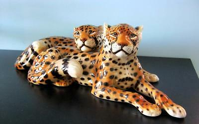 Ronzan Italian Porcelain Cheetah Group - Lenci interest Rare 2 Cats version