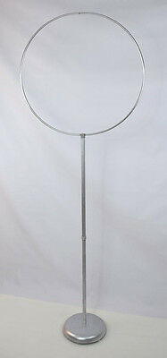"""Vintage Large Metal Silver Cast Iron Base Bird Cage Stand Hoop Holder 66"""" Tall"""