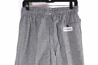 Chef Works Baggies Size M Checkered Chef Pants Poly Cotton Blend NWT