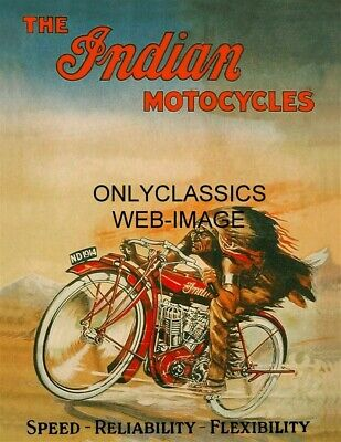 1914 Indian V-Twin Vintage Motorcycle Racing Poster Great Graphics Advertising