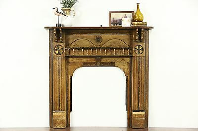 Fireplace Mantel, 1870 Antique Architectural Salvage, Grain Painted Pine