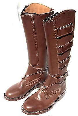 Polo Player Boots - Size US (3)- Front Zipper - Brown - Field Boot Style Velcro