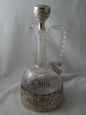 Superb Antique Etched Crystal Carafe & Stopper W/ Silver Overlay Courting Scenes