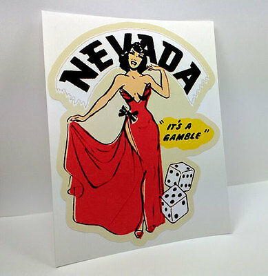 NEVADA Pinup Vintage Style Travel Decal / Vinyl Sticker, Luggage Label