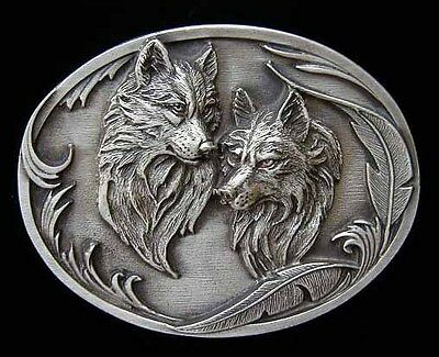 Wolf Couple Fine Pewter Belt Buckle Nice! Buckles