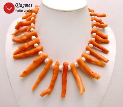 """Big 8*70mm Pink Branch shape Natural Coral & 8-9mm White Pearl 18"""" Necklace-6162"""