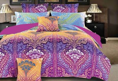 KING / QUEEN Zanica paisley Quilt Cover Set / purple duvet Cover Set / accessory