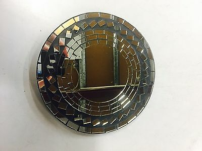 wall art Hanging plaque sculpture quality Round small Mosaic Mirror Handmade