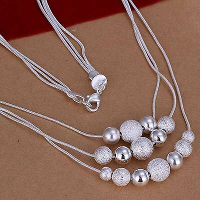 Fashion 925Sterling Solid Silver Jewelry 3Chains Beads Necklace For Women N020