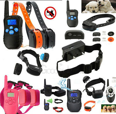 Rechargeable 2 Dogs LCD Shock&Vibrate Remote Dog Pet Training Collar Waterproof