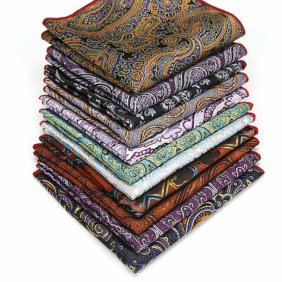 Men Vintage Cotton Paisley Flower Pocket Square Wedding Party Handkerchief FT025