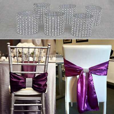 10Pcs Silver Diamond Napkin Ring Serviette Holder Wedding Banquet Dinner Decor