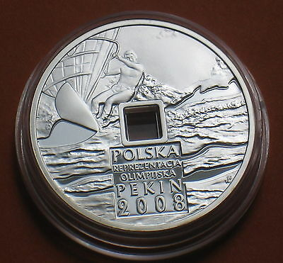 SILVER 10 ZLOTY COIN OF POLAND - 2008 SUMMER OLYMPIC GAMES BEIJING CHINA Ag