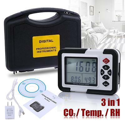 Large LCD CO2 Carbon Dioxide Data Logger Air Temperature Humidity Meter Monitor