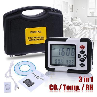 USB LCD CO2 Carbon Dioxide Data Logger Air Temperature Humidity Meter Monitor
