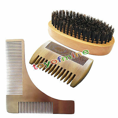 Beard Hair Brush Comb Face Style Shaping Militery Palm Brush Metal Wood Comb Set