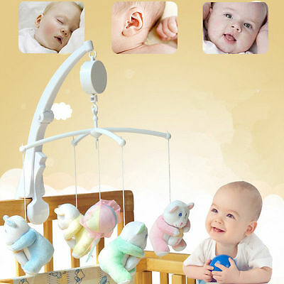 Cute Infant Baby Music Box Crib Rotary Toys Kids Bed Clockwork Mobile Movement