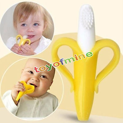 Portable Silicone Banana Toothbrush Safe Baby Teether Teething Toothbrush 1pc