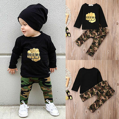 Hot Baby Boy Kids Clothes T-shirt +Camouflage Pants Trousers 2pcs Outfits Set UK