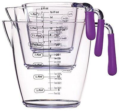 Silicone Bakeware Measuring Jug with Firm Handle, Plastic, Clear, Set of 3