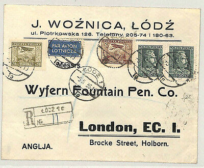 P225 1935 POLAND AIR Registered *Łódź* Commercial Cover GB London Fine Franking