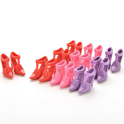 10 Pairs Colorful 1.8cm High Heel Shoes for Barbie Random Color Doll FT