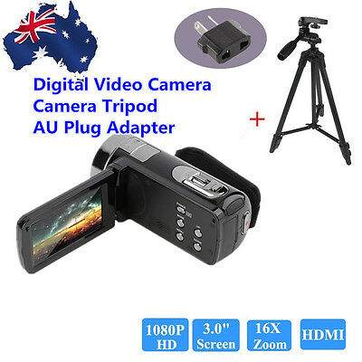 "Full HD 1080P Digital Video Camera 3"" LCD 16xZoom Camcorder DV 24MP DVR+Tripod A"
