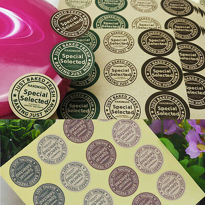 "New 80Pcs ""Special selected"" Round Kraft Sticker Wall Purse Bag Gift Box Decor"