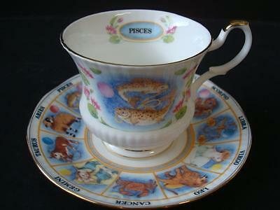 Queens Fine Bone China Zodiacs Pisces Tea Cup And Saucer