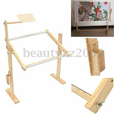 Adjustable Wooden Floor Stand Holder Embroidery Frames Cross Stitch Craft Set