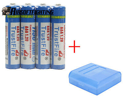 4X TrustFire AAA 1150mAh 1.2V Rechargeable Battery with 1X free Battery Case