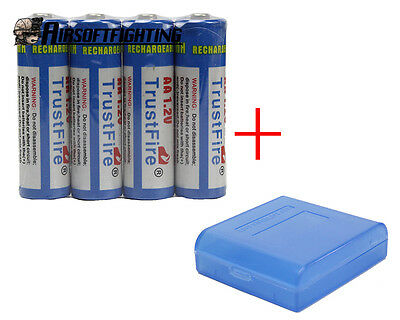 4X TrustFire AA 2500mAh 1.2V Rechargeable Battery with 1X battery Case Box