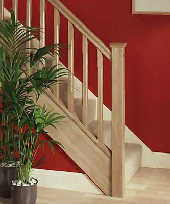 Solid Oak Square Staircase and Landing Balustrade Kit - 41mm Spindles.