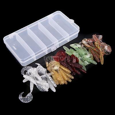 50Pcs Simulation Worms Fishing Lures Single Tail Soft Baits Fishy Smell Box D4W6