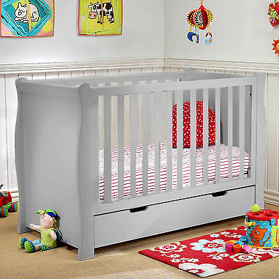 New 4Baby Grey Sleigh Baby Cot Bed With Storage Drawer & Maxi Air Cool Mattress