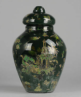Antique Chinese or Chinoiserie Glass Behind Painted Glass Vase Tin  UK or China