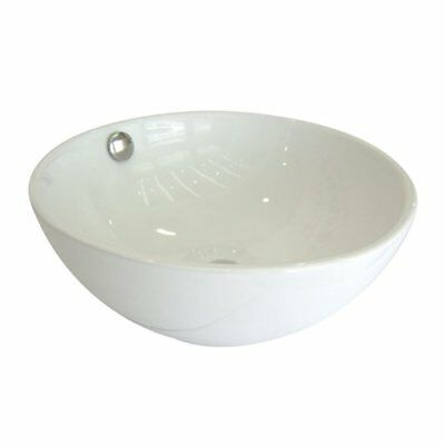 Kingston Brass Le Country Ceramic Circular Vessel Bathroom Sink with Overflow