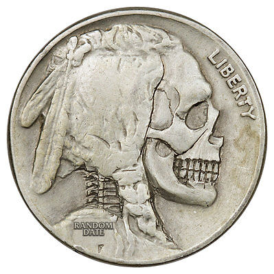 Random Date 1913-1938 Hobo Nickel - Skull SKU44843