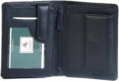 Visconti Luxury Black Real Soft Leather 8 Card Coin Purse Wallet Ht-11