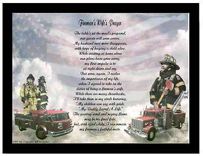 Fireman's Wife Poem Prayer  Gift For Husband Father