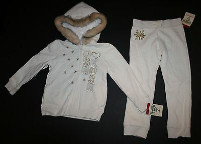 New OshKosh Girls Warm Cozy Ivory Faux Fur Hoodie Sweatpants Outfit Set 4T NWT