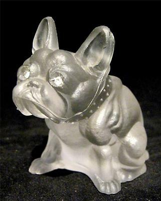 C19th Czech Glass French Bulldog Novelty Frosted Diamante Eyes
