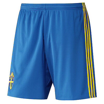 adidas Performance Sweden 2016-17 Football Soccer Boys Kids Home Shorts - Blue