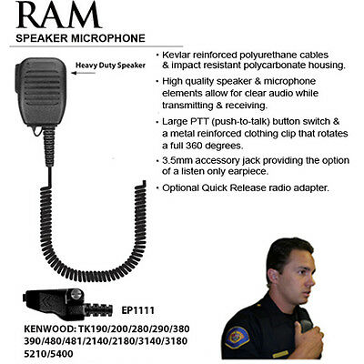 Tactical Ear Gadgets RAM Speaker Microphone for Kenwood NX TK Radios (See List)