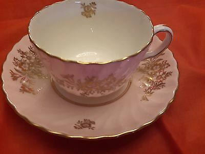Mid Century Minton Pink Tea Cup And Saucer Minuet H5122 Swirl Gold Accents