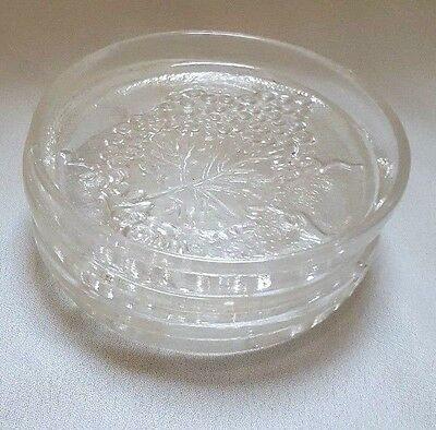 Three Clear Glass Grape Coasters Grapes and Grape Leaf