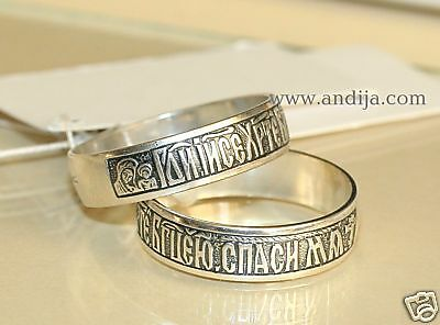 ORTHODOX RUSSIAN SILVER RING /w PRAYER & HOLY  ICON. CHRISTIAN JEWELRY ONLINE