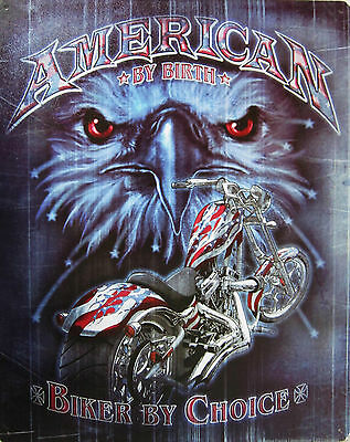 American by Birth-Biker by Choice Metal Sign